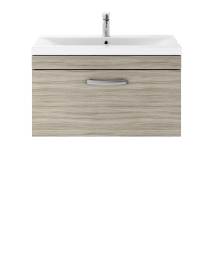 Nuie Athena Driftwood Contemporary 800 Wall Hung Single Drawer Vanity With Basin 1 - ATH057A ATH057A