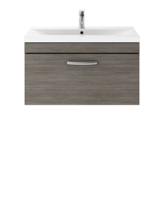 Nuie Athena Brown Grey Avola Contemporary 800 Wall Hung Single Drawer Vanity With Basin 1 - ATH060A ATH060A