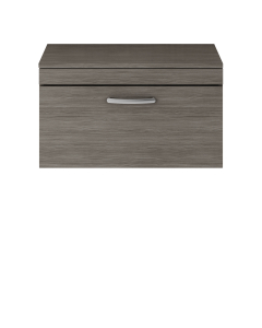 Nuie Athena Brown Grey Avola Contemporary 800 Wall Hung Single Drawer Vanity With Worktop - ATH060W ATH060W