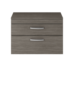 Nuie Athena Brown Grey Avola Contemporary 800 Wall Hung 2-Drawer Vanity With Worktop - ATH067W ATH067W