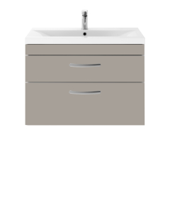 Nuie Athena Stone Grey Contemporary 800 Wall Hung 2-Drawer Vanity With Basin 1 - ATH070A ATH070A