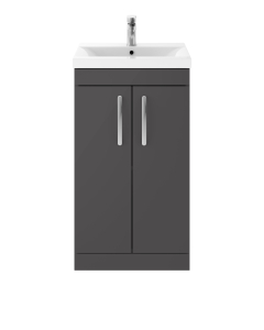 Nuie Athena Gloss Grey Contemporary Floor Standing 500mm Cabinet & Basin 2 - ATH072B ATH072B