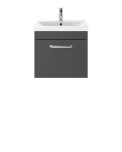 Nuie Athena Gloss Grey Contemporary Wall Hung 500mm Cabinet & Basin 2 - ATH073B ATH073B