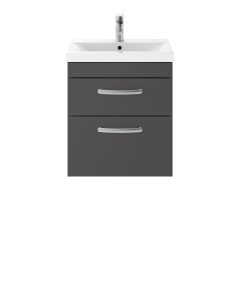 Nuie Athena Gloss Grey Contemporary 500mm Wall Hung Cabinet & Basin 3 - ATH074D ATH074D
