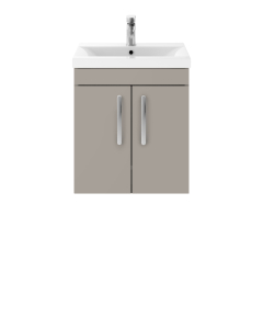 Nuie Athena Stone Grey Contemporary 500mm Wall Hung Cabinet & Basin 2 - ATH083B ATH083B