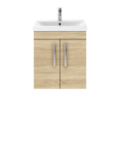 Nuie Athena Natural Oak Contemporary 500mm Wall Hung Cabinet & Basin 1 - ATH084A ATH084A