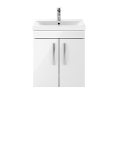 Nuie Athena Gloss White Contemporary 500mm Wall Hung Cabinet & Basin 1 - ATH088A ATH088A