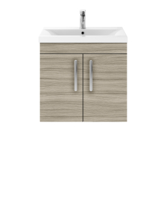 Nuie Athena Driftwood Contemporary Wall Hung 600mm Cabinet & Basin 1 - ATH089A ATH089A