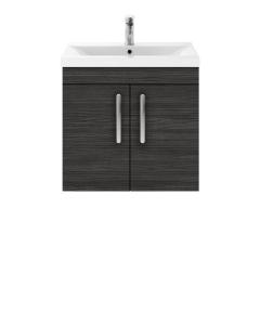 Nuie Athena Hacienda Black Contemporary 600mm Wall Hung Cabinet & Basin 1 - ATH092A ATH092A
