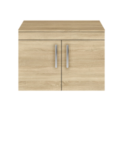 Nuie Athena Natural Oak Contemporary 800mm Wall Hung Cabinet & Worktop - ATH098W ATH098W