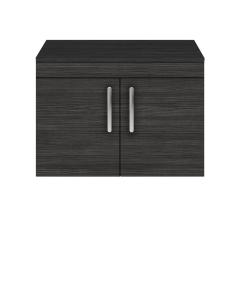 Nuie Athena Hacienda Black Contemporary 800mm Wall Hung Cabinet & Worktop - ATH099W ATH099W