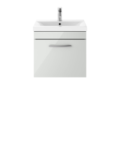 Nuie Athena Gloss Grey Mist Contemporary 500mm Wall Hung Cabinet & Basin 2 - ATH104B ATH104B