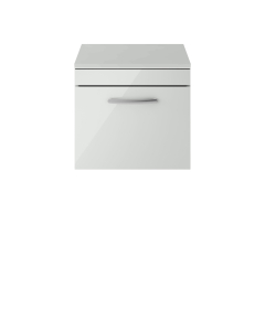 Nuie Athena Gloss Grey Mist Contemporary 500mm Wall Hung Cabinet & Worktop - ATH104W ATH104W