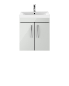 Nuie Athena Gloss Grey Mist Contemporary 500mm Wall Hung Cabinet & Basin 2 - ATH106B ATH106B