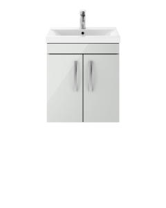 Nuie Athena Gloss Grey Mist Contemporary 500mm Wall Hung Cabinet & Basin 3 - ATH106D ATH106D