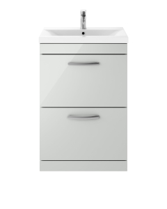 Nuie Athena Gloss Grey Mist Contemporary 600mm Floor Standing Cabinet & Basin 1 - ATH108A ATH108A