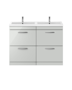 Nuie Athena Gloss Grey Mist Contemporary 1200mm Floor Standing Cabinet & Double Basin - ATH108C ATH108C