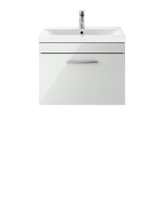 Nuie Athena Gloss Grey Mist Contemporary 600mm Wall Hung Cabinet & Basin 3 - ATH109D ATH109D