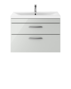 Nuie Athena Gloss Grey Mist Contemporary 800mm Wall Hung Cabinet & Basin 1 - ATH114A ATH114A
