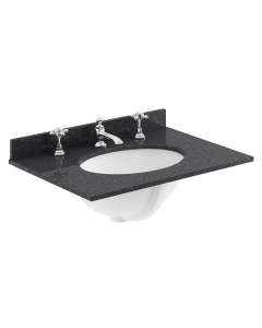 Bayswater Black Marble Top Furniture Basin 600mm Wide 3 Tap Hole BAY1110
