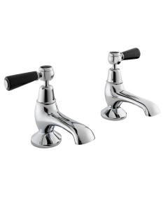 Bayswater Lever Hex Bath Taps Pair Black/Chrome - BAYT342 BAY1073