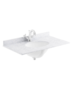 Bayswater White Marble Top Furniture Basin 600mm Wide 1 Tap Hole BAY1119
