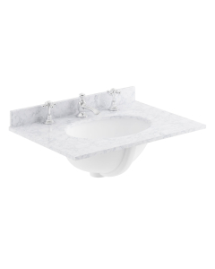 Bayswater White Marble Top Furniture Basin 600mm Wide 3 Tap Hole BAY1118