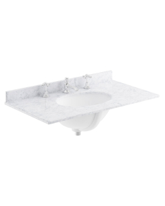 Bayswater White Marble Top Furniture Basin 800mm Wide 3 Tap Hole BAY1116