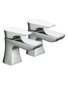 Bristan Designer Hourglass Basin Taps, Pair, Chrome HOU 1/2 C