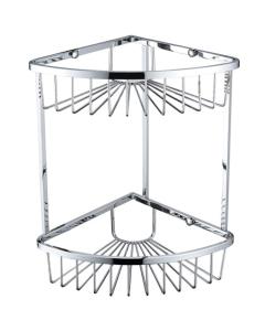 Bristan Two Tier Corner Fixed Wire Basket, Chrome COMP BASK06 C