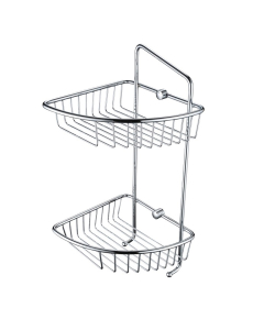 Bristan Two Tier Wall Fixed Wire Basket, Chrome COMP BASK07 C
