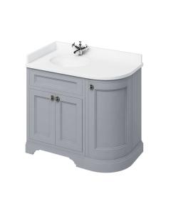 Burlington 100 Curved LH 3-Door Vanity Unit and White Basin 1000mm Wide Grey - 0 Tap Hole BU10391