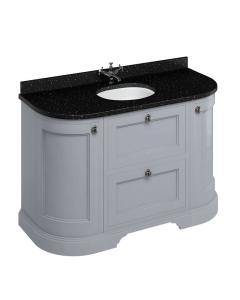 Burlington 134 Curved 2-Door Vanity Unit and Black Granite Basin 1300mm Grey - 0 Tap Hole BU10375