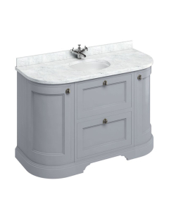 Burlington 134 Curved 2-Door Vanity Unit and Carrara White Basin 1300mm Wide Grey 0 Tap Hole BU10374