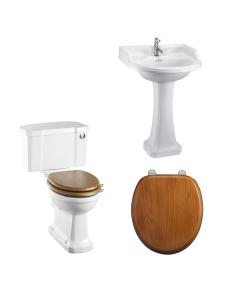 Burlington Bathroom Suite, Standard Close Coupled Toilet, Push Button Cistern BU10895