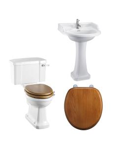 Burlington Bathroom Suite, Standard Close Coupled Toilet, Deep Lever Cistern BU10894