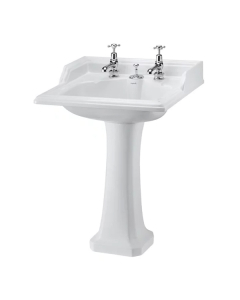 Burlington Classic Invisible Overflow Basin with Full Pedestal, 650mm Wide, 2 Tap Hole BU10176