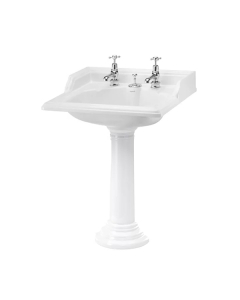 Burlington Classic Invisible Overflow Basin with Full Regal Pedestal, 650mm Wide, 2 Tap Hole BU10172
