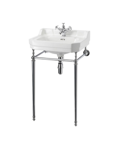 Burlington Contemporary Basin with Chrome Wash Stand, 580mm Wide, 2 Tap Hole BU10157