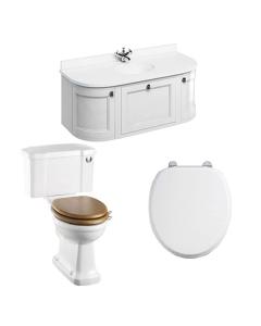 Burlington Furniture Bathroom Suite 1340mm Wide Vanity Unit Matt White - 0 Tap Hole BU10870
