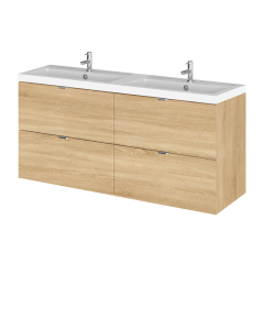 Hudson Reed Fusion Natural Oak 1200mm Vanity Unit & Double Basin - CBI332 CBI332