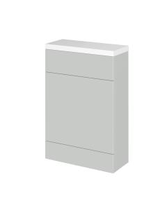 Hudson Reed Fusion Gloss Grey Mist 600mm Compact WC Unit & Polymarble Top - CBI419 CBI419