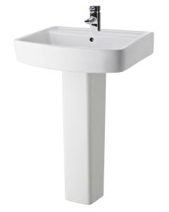 Nuie Bliss White Contemporary 600mm 1 Tap Hole Basin & Pedestal - CBL010 CBL010