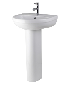 Nuie Harmony White Contemporary 500mm 1 Tap Hole Basin & Pedestal - CHM002 CHM002