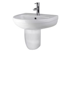 Nuie Harmony White Contemporary 500mm 1 Tap Hole Basin & Semi Pedestal - CHM004 CHM004