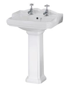 Nuie Legend White Traditional 580mm 2 TH Basin & Pedestal - CLG004 CLG004