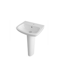 Nuie Ambrose White Contemporary 450mm 1 Tap Hole Basin & Pedestal - CPC021 CPC021