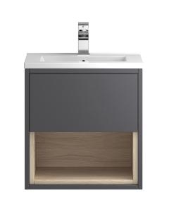 Hudson Reed Coast Grey Gloss Wall Hung 500 Cabinet & Basin 1 - CST884E CST884E