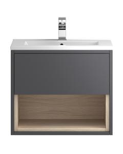 Hudson Reed Coast Grey Gloss Wall Hung 600 Cabinet & Basin 2 - CST886 CST886