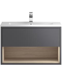 Hudson Reed Coast Grey Gloss Wall Hung 800 Cabinet & Basin 2 - CST888 CST888